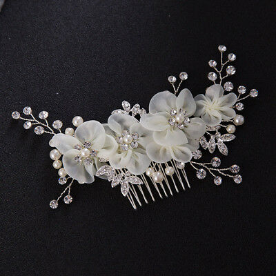 White Floral Crystal Wedding Beads Bridal hair Accessories piece comb Head band