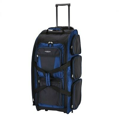 """Travelers Club 30"""" Xpedition 7 Pocket Standing and Rolling Duffel, Blue"""