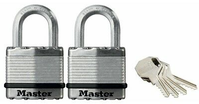 MasterLock EXCELL M1EURT 45mm Twin Padlock Pack Keyed Alike Level 8 Security