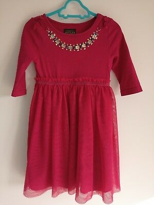 Joules Girls Party Dress Age 3 Red with Jewel Neckline