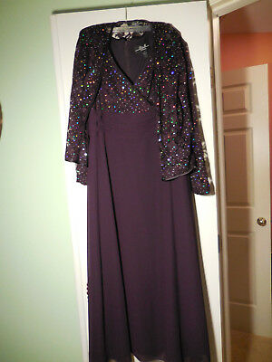 mother of the bride evening gown  plum purple size 14