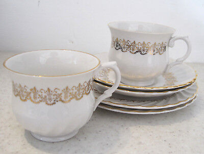 2 Vintage Old Foley Tea Trios Cups & Saucers Side Plates White And Gold Tablewar