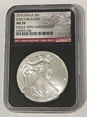 2016 1oz Silver American Eagle $1 - Early Release - NGC MS 70 - 30th Anniversary