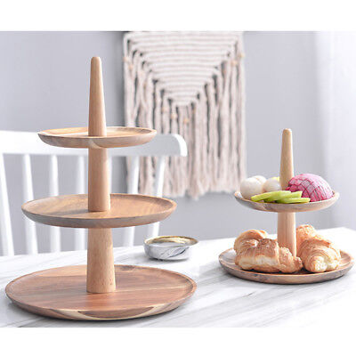 2Tier Vintage Wooden Round Cake Stand Tray Food Platter Party Tray