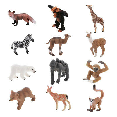 12 Pieces PVC Realistic Wildlife Animal Model Figures Toy Party Bag Fillers