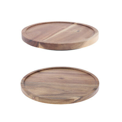 Acacia Wooden Flat Round Wood Server Cake Stand with Glass Dome