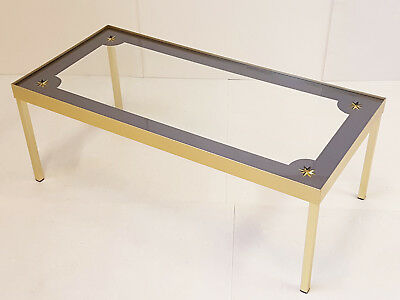 Coffee Table Vintage Aluminium Golden & Glass Etoile 1960 Years 60 60's 60S