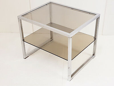 Side Table Vintage 70S 70's Steel Chrome & Glass Smoke 1970 70S