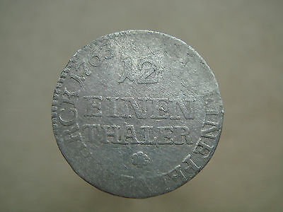 Old Antique Saxony Prussia 1/12 Thaler 1763 Silver Coin Nr 3879