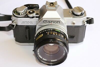 Canon AT1 Vintage 35mm SLR Camera with FD 50mm 1:1.8 SC Lens