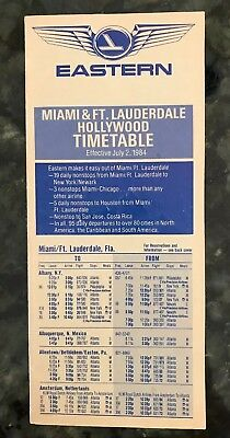 Eastern Airlines Timetable Miami Ft Lauderdale 7/2/1984
