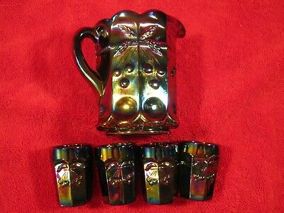 Mosser - Jennifer Miniature Cherry & Cable Carnival Glass Water Pitcher & Tumble