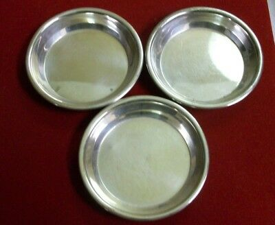 Set of 3 Sterling Silver Butter Pat, Small Dish Tray, Wine Bottle Coaster