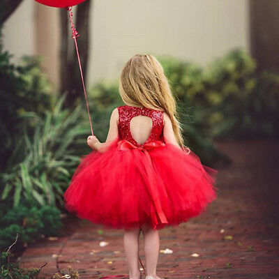 Princess Toddler Kids Baby Flower Girl Party Christmas Lace Sequins Tutu Dress
