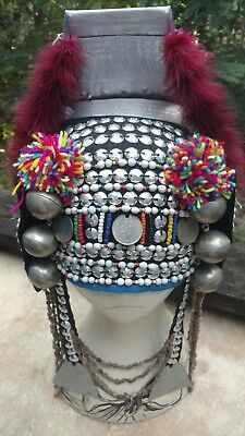 Fab Vintage Colorful Authentic Akha Hilltribe Hat Headdress Asia Beads Coins