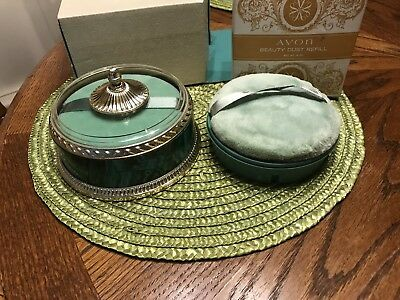 Vtg Avon Regence Beauty Dust 6 oz. Container & Puff 1970's New/box&extra Refill