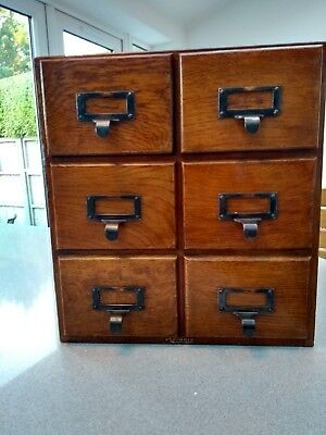 Vintage Wooden Index Card Filing 6 Drawer Cabinet Oak Advance Systems Table Top