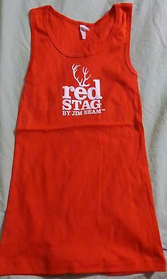 Jim Beam Red Stag - Tank Top - Red with White Logo - Cotton - Ladies Medium- NEW