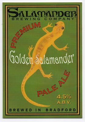 Beer pump clip front. Salamander Brewing Co, GOLDEN SALAMANDER, Pale ale.