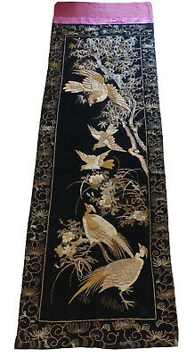 """Antique Japanese Gold Threads Embroidered Silk Huge Panel 129.5"""" L By 39.5"""" W"""