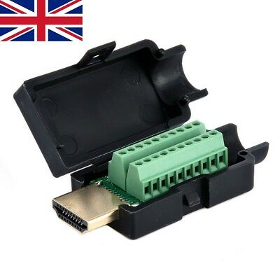 New HDMI 19P Plug Breakout Terminals Solderless Connector With Black Cover Male