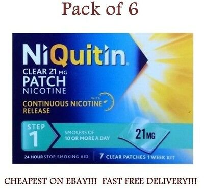 NiQuitin 21mg Clear 24 Hour 7 Patches Step 1 Pack of 6