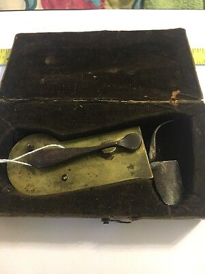 Antique SURGEON Marked Spring LANCET BLOOD LETTING BLEEDER INSTRUMENT Set  # 15