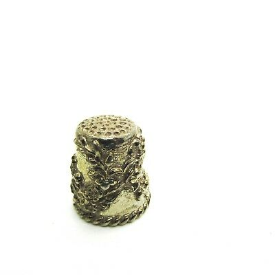 Hi-Relief Gold Plated Pewter Thimble Featuring A Floral Design