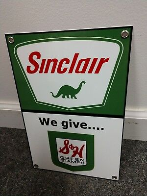 Sinclair S&H Stamps Gas Oil gasoline sign ..FREE ship on 10 signs