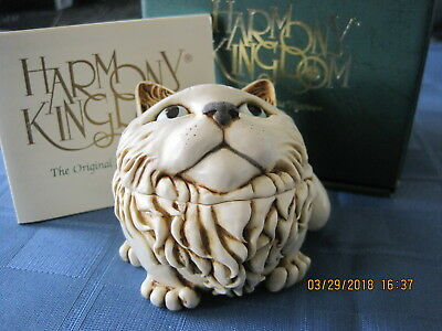 Harmony Kingdom Fat Cat's Meow UK Made Marble Resin Box Figurine SGN