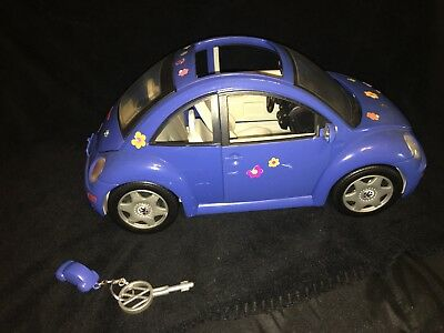 Barbie Vw Retro Blue Bug Volkswagen Car With Key And Fob 2000