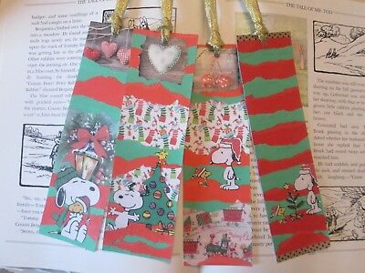 Snoopy Christmas bookmarks x 4