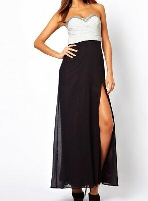 Lipsy Embellished Maxi Dress 12 Black White Bandeau Sexy Slit Long Xmas Party