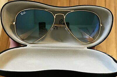 Ray Ban RB 3025 Aviator Sunglasses 001/3F Gold / Light Blue Gradient 58mm