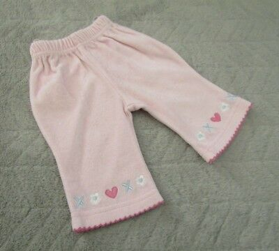Baby Girls 80% Cotton Light Pink Embroidered Trousers (Newborn) - By Dandelion