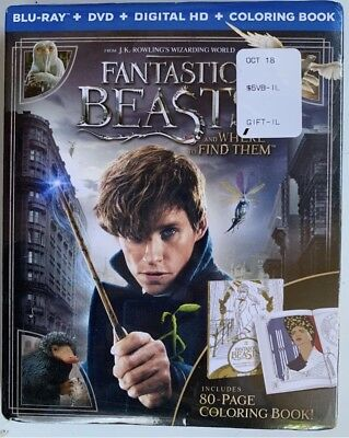 New! Fantastic Beasts And Where To Find Them (Blu-Ray, Dvd, Coloring Book, 2017)