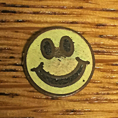 Antique Happy Face Enamel Brass Yellow Small Plaque Charm????Rare Unusal Smiley
