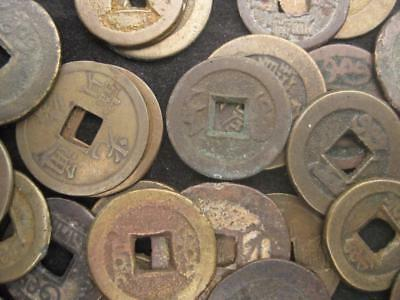 Lot of 50 brass Chinese cash nice selection VF