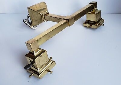 Arts Crafts Style Brass Sconce Light Fixture Double Two Socket