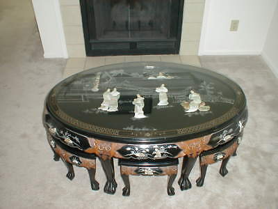 Antique Oriental Black Lacquer Tea Table. Mother of Pearl Inlaid Design