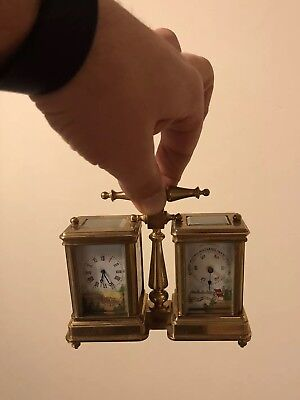 Miniature Carriage Clock & Barometer Combination Hand Painted Sevres Superb