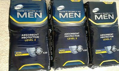 TENA Men Level 2 - 3 Packs of 20 Incontinence Pads (Total 60 Pads)