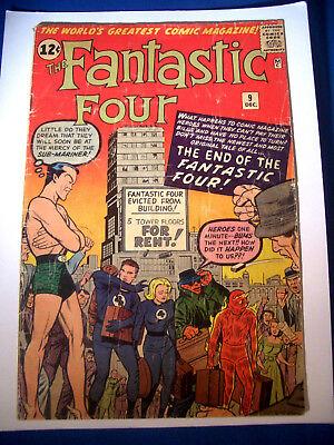 1962 * FANTASTIC FOUR #9 * Marvel Comics * est 3.5 VG- * Rare Off WHITE Pages !!