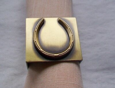 Solid Brass Napkin Ring - Antique Finish- Skinny Horseshoe  Design