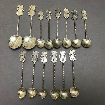 Nice Antique Set Of 14 Solid Silver Spoons - Chinese Asian Thai