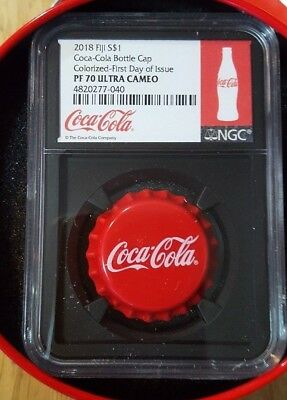 2018 Fiji S$1 Coca-Cola Cap Colorized-First Day of Issue PF70 Ultra Cameo Black