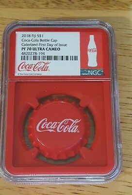 2018 Fiji S$1 Coca-Cola Cap Colorized-First Day of Issue PF70 Ultra Cameo Red