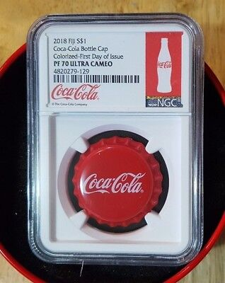 2018 Fiji S$1 Coca-Cola Cap Colorized-First Day of Issue PF70 Ultra Cameo White