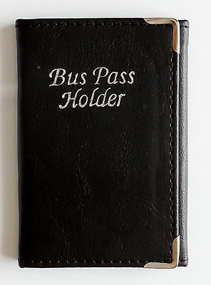 Men Women Slim Real Leather Trifold Bus Pass Travel Card Credit Card ID Holder