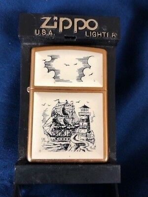 ZIPPO Brass Scrimshaw Ship Lighthouse Unused Lighter w Original Box / Paperwork